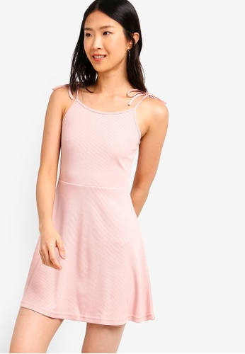 ZALORA BASICS pink Basic Rib Cami Dress 88A8CAAF71AABAGS_1