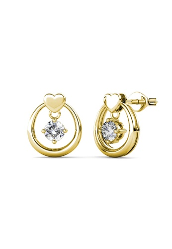 Her Jewellery gold Love Drop Earrings (Yellow Gold) - Made with premium grade crystals from Austria 3BFA9ACAA7AFF3GS_1