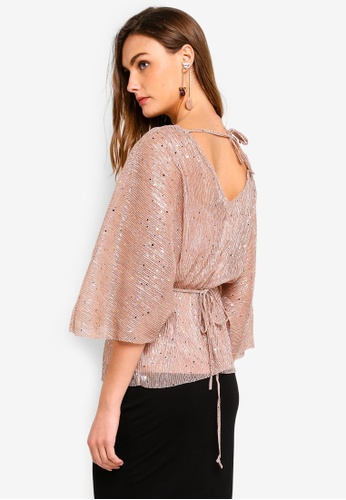 66776a4157d River Island pink Sequin Belted Plisse Batwing Top 127EBAAFAAC7D0GS 1