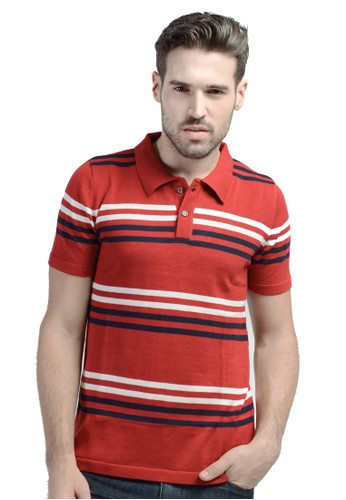 Knitwork Red Striped Polo Shirt
