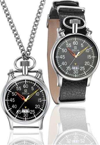 ZECA black Zeca Watches Men Fashion Leather Analog - 209M Black Silver ZE260AC28SYPSG_1