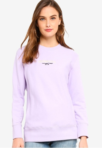Guess purple Guess Embroidered Logo Pullover Sweatshirt 7B1A5AA943C575GS_1