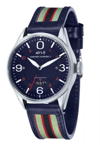AVI-8 blue Hawker Harrier II  Men's Leather Watch AV642AC41JWSPH_1