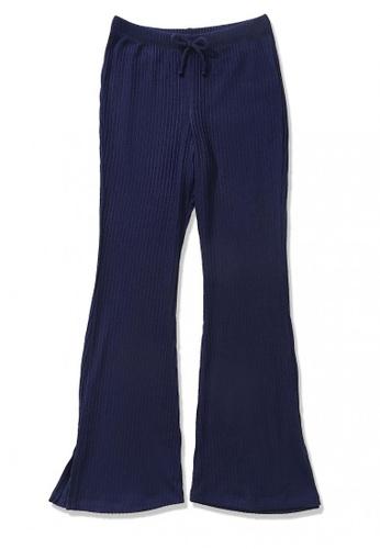 FOREVER 21 navy Ribbed Flare Pants 47F80KAE68BA84GS_1