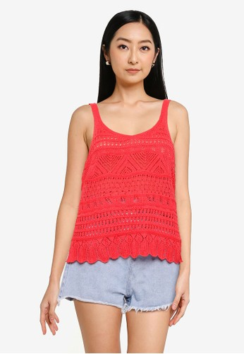 ONLY red Stella Pullover Knit Top 65C7BAAFFB69D8GS_1