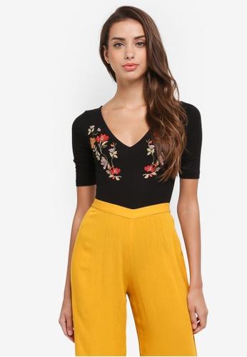 Miss Selfridge black Petite Embroidered Jersey Bodysuit B63FAAA7269DE6GS_1