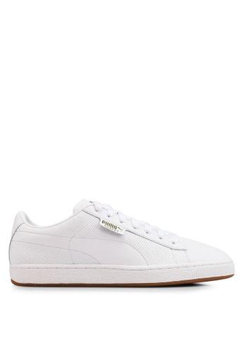 PUMA white Basket Classic Gum Sneakers 75A72SHFB47B9AGS_1