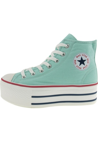 Maxstar Maxstar Women's C50 7 Holes Zipper Platform Canvas High Top Sneakers US Women Size MA168SH19BAQHK_1