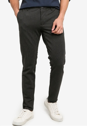 Only & Sons grey Mark Striped Trousers 8A615AAA3FBE1EGS_1