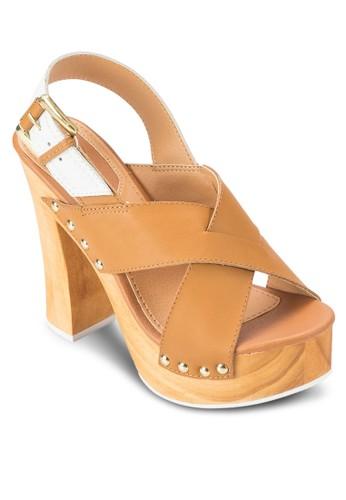 Brujas 交叉寬esprit 折扣帶木製粗跟鞋, 女鞋, 鞋