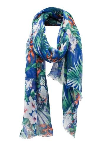 Dressing Paula navy Tropical Print Rectangle Scarf With Frayed Hem 7C8E2AA7EBCA26GS_1