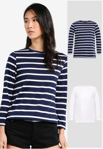 ZALORA BASICS white and multi and navy 2 Pack Essential Long Sleeve Split Side Tee ZA274AA0JFNVSG_1