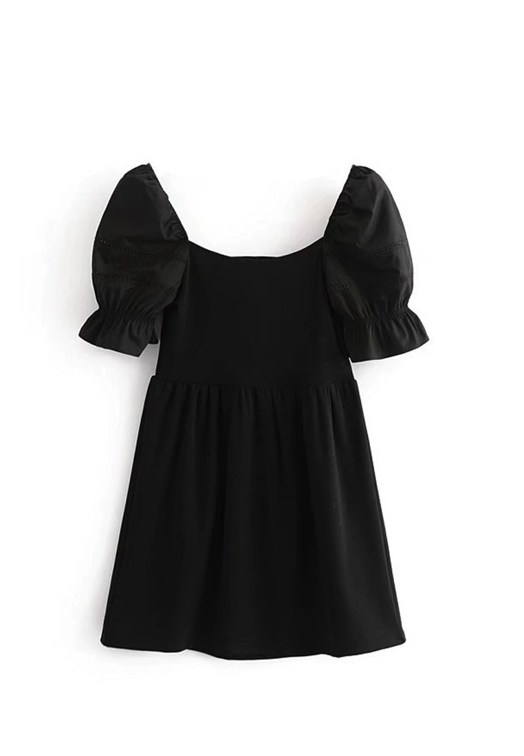 Black One New Bubble Sunnydaysweety Piece A051603 2018 Sleeve Dress Black a5WH4Ixn