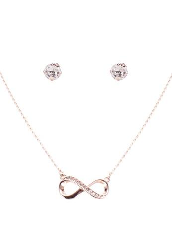 Mestige 粉紅色 玫瑰金 Infinity 項鍊 And 耳環Set With Swarovski Crystals 1330DACF65D74DGS_1
