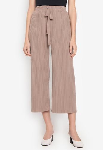 CIGNAL brown Drawstring Fine Pleated Pants 86282AA1297D36GS_1