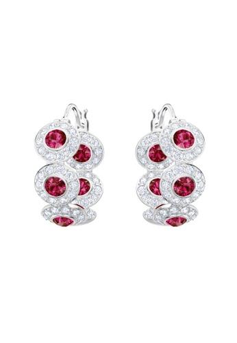 Swarovski red and silver Angelic Hoop Pierced Earrings 79A98AC8952EFBGS_1
