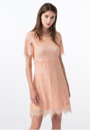 Les Premieres orange Roselle Lace Short Sleeves Dress 3E1B2AAD532359GS_1