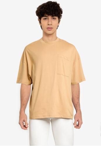Electro Denim Lab brown Pocket Oversize Tee B36A9AAD20A3C5GS_1
