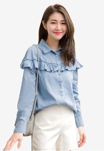 Tokichoi blue Buttoned Up Ruffled Shirt 3ECF4AA8DDB59CGS_1