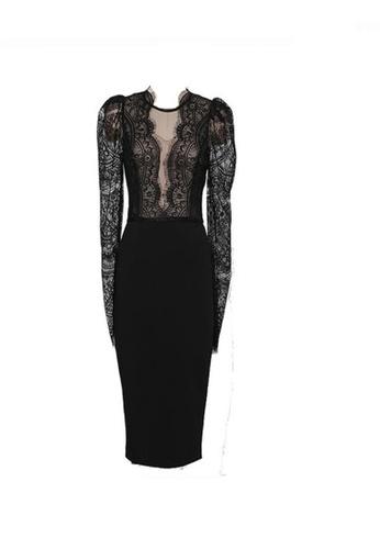 Crystal Korea Fashion black New Goddess Slim Sexy Lace Backless Party Dress ECB18AA8832C24GS_1