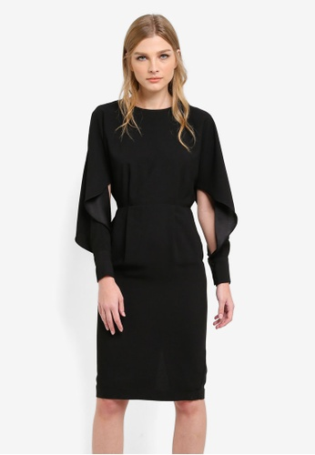 WAREHOUSE black Split Sleeve Wiggle Dress WA653AA0S4Q1MY_1