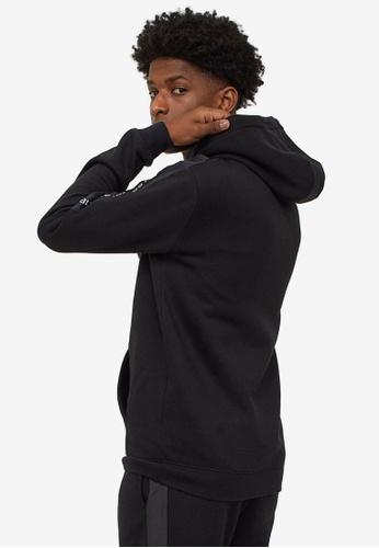 H&M black Sleeves Panel-Detail Hoodie 018B8AAAEEBF2CGS_1