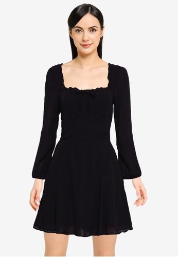 Abercrombie & Fitch black Portrait Neck Print Driver Dress B7538AA86EC6F0GS_1