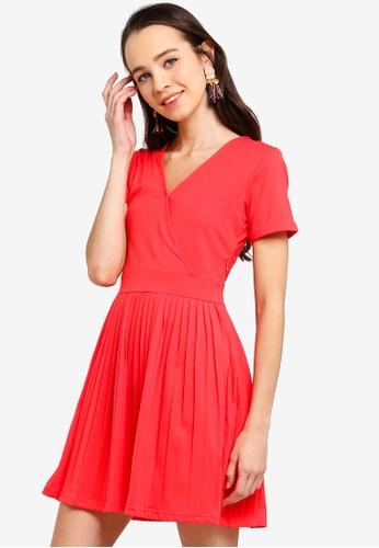 Something Borrowed red Pleated Mini Dress 570F8AA754E6E5GS_1