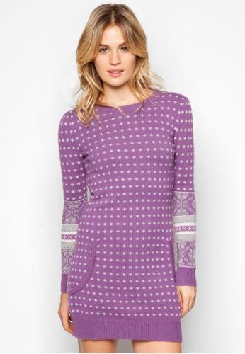 印花長版毛衣, 服飾, 短esprit 京站洋裝