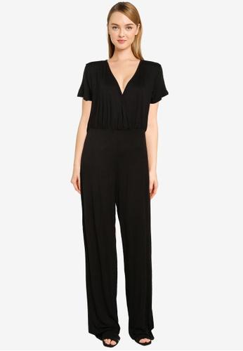 MISSGUIDED black Jersey Wrap Culotte Jumpsuit B55B9AA19E8240GS_1