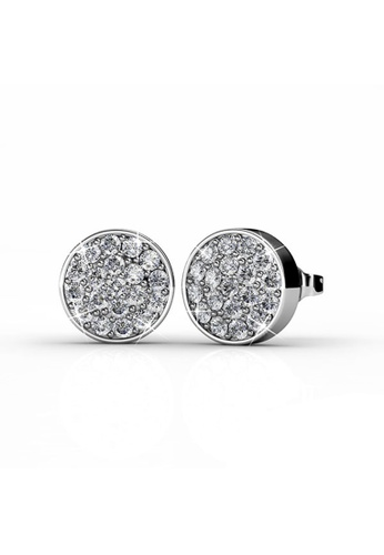 Her Jewellery Silver Round Earrings White Gold Embellished With Crystals From Swarovski