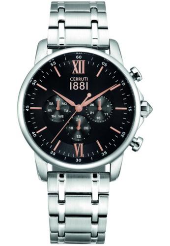 CERRUTI 1881 silver Terra Multifunction All Stainless Steel Black Dial Men Watch CE514AC43QOIMY_1