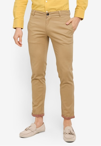 ZALORA beige Slim Fit Reverse Printed Cuff Cotton Chinos 681C2AA9C0A341GS_1