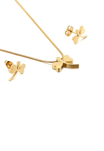 Glamorousky silver Simple and Exquisite Plated Gold Dragonfly 316L Stainless Steel Necklace and Stud Earring Set 0D270AC2C4881CGS_1