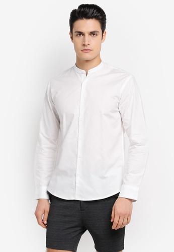 ZALORA 白色 Slim Fit Mandarin Collar Oxford Long Sleeve Shirt 73DBBAA1AE23FFGS_1