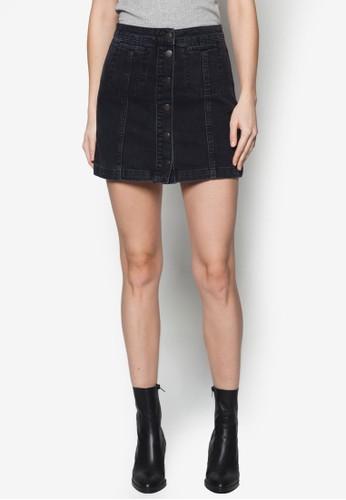 Mototopshop 包 排鈕丹寧短裙, 服飾, 迷你裙