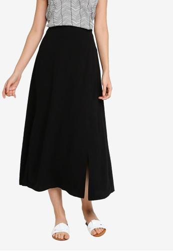 ZALORA BASICS black Maxi Skirt With Slits 5D056AA482E848GS_1