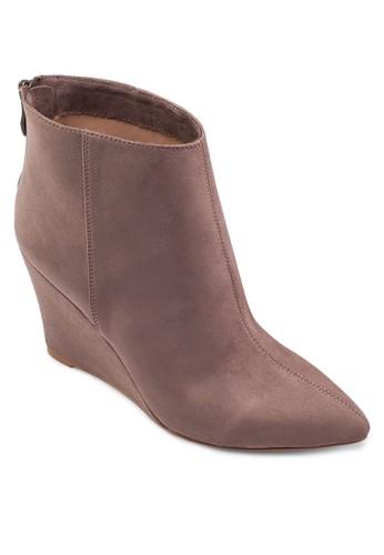 zalora 包包評價尖頭楔形踝靴, 女鞋, 鞋
