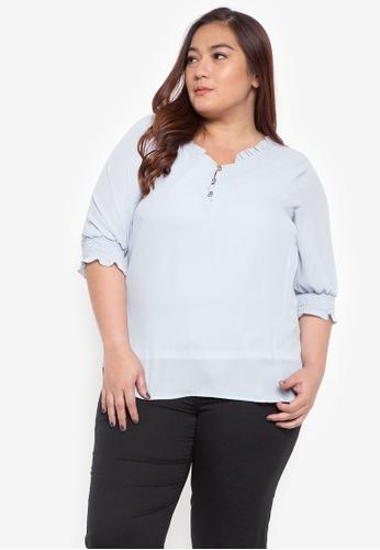 62ebd9221d8a Shop Divina Plus Size Garterized Sleeve Blouse Online on ZALORA ...