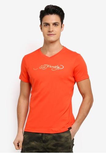 Ed Hardy orange Ed Hardy Basic V Neck Tee 11622AA56E4B9EGS_1