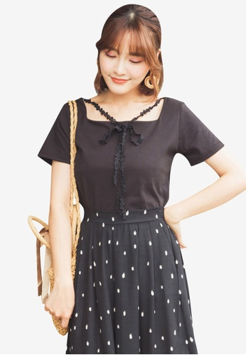 Tokichoi black Square Neck Blouse with Lace Tie 2BEC9AA6A63D0DGS_1