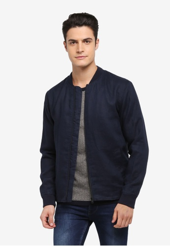 Selected Homme navy Lukas Linen Bomber Jacket 7DCB7AA78D8646GS_1