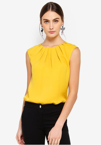 FORCAST yellow Natalie Pleat Neck Top 9BDD5AA1C7699CGS_1