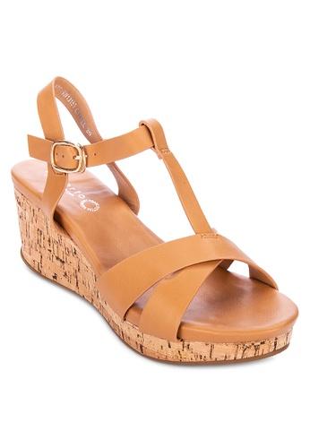Alberto brown T-strap wedge sandals 5C820SH85888C9GS_1