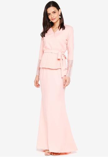 Lubna orange Kimono Wrap Kurung Lace 21CA0AA657E9E3GS_1
