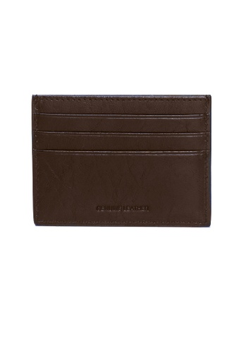 ENZODESIGN brown and navy Buffalo Leather Slim Card Holder   EN115AC01ZWGPH_1