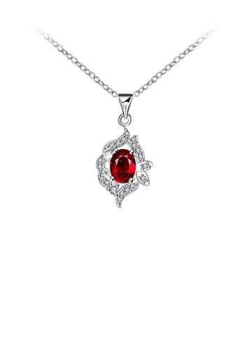 Glamorousky red Classic Geometric Pendant with Red Cubic Zircon and Necklace 05FB0AC5794C06GS_1