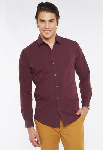 Août red Août - Men's Long Sleeved Fil-a-Fil Cotton Shirt 0A3A2AA56A7F2DGS_1