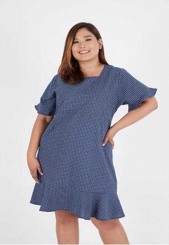 Sorabel blue Diorro Square Flare Mini Dress Big Size Navy 66071AAE96DB5EGS_1