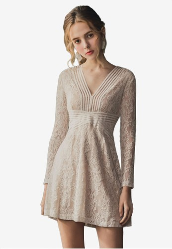 Eyescream white V Neck Lace Dress F6D67AA3DA55EAGS_1